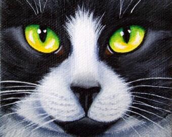Original Tuxedo Black and White Cat Black Nose Face Macro Portrait Acrylic Painting