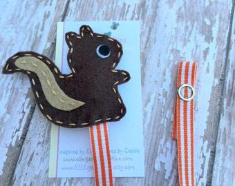 Squirrel Pacifier Clip - Brown -  Felt Pacifier Clip /  Boys Pacifier clip / Woodland Pacifier clip