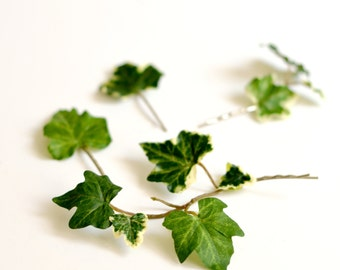 Ivy hair pins, leafy bobby pins, bridal hair, leaf hair clips, wedding hair accessory by Gardens of Whimsy on Etsy