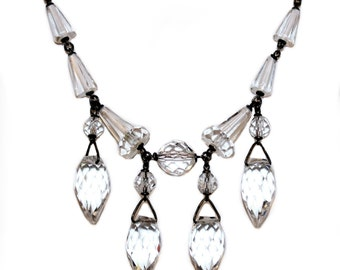 1920s Necklace With Crystal Drops