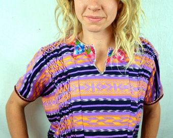 Vintage Oversized Woven Guatemalan Ethnic Embroidered Rainbow Huipil Tunic Top
