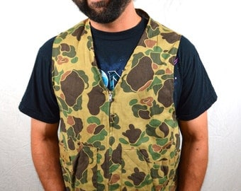 Vintage 60s Camo Hunting Camouflage Vest - By Chief