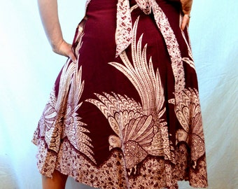 Lovely Vintage 1970s Vtg Maxi Hippie Wrap Around Skirt