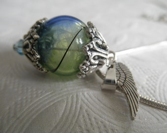 Heaven-Earth Spiritual Reliquary Terrarium Blue-Green Glass Pendant Angel Wing w/Angel Wing Charm-On A Wing & A Prayer-Gifts For 30