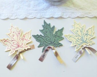 Leaf placecards - set of 4