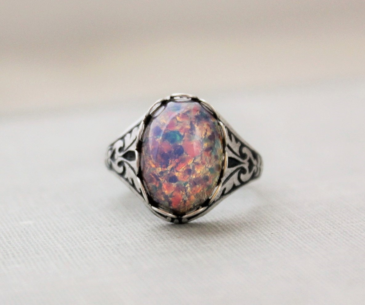 opal ring vintage antique silver by