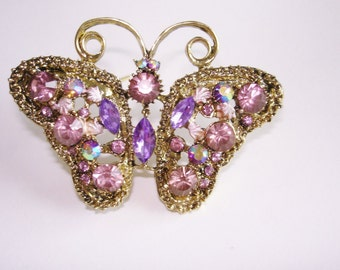 Butterfly Brooch Crystal Stones