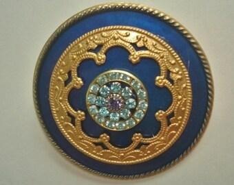Rhinestone  Brooch Royal Blue Gold Tone