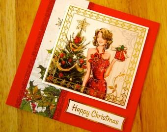 Happy Christmas Fabulous Lady Handmade 3-D Decoupage Christmas Greetings Card (#091)