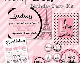 Paris Birthday Party  Printable Kit, Custom