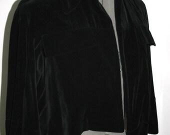 Vintage 1940's Black Velvet Cropped Modern Avant Garde Jacket
