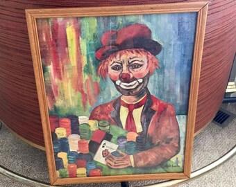 Vintage Mid Century Modern Cubist Creepy Clown Painting for El Cortez Casino Las Vegas