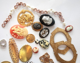 25 Vintage Charms // 40s 50s 60s 70s Brass Stampings // Assorted Sample Pack // New Old Stock Jewelry Supply Destash // JL111