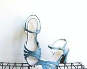 Vintage Ice Blue Heels Dress Sandals 1960s Pumps Thom McAn Size 7