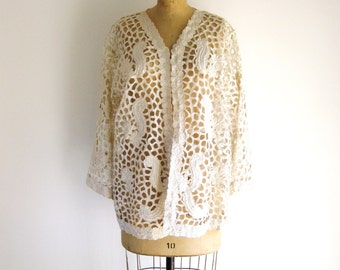 Vintage Cut-Out Lace Jacket 1960s Boho Ivory Floral Embroidery Bell Sleeve Cardigan Top L