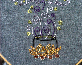 PDF Embroidery Pattern - Witches Brew, Autumn, Halloween Embroidery Pattern