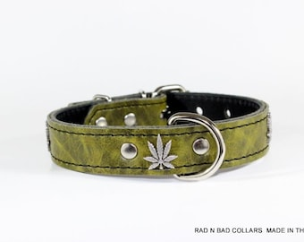 Green adjustable dog collar, Cannabis, Leather Collar