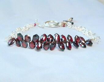 Garnet Bracelet, Rare Almandine Garnet, January Birthstone, Silver Bracelet, Metaphysical Magick, Garnet Jewelry, Heirloom, Lovely Luxe