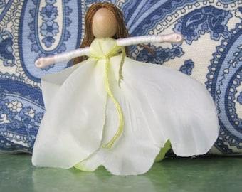 White Peony Flower Fairy - Waldorf Flower Fairy Doll