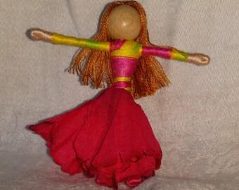 Waldorf Flower Fairy Doll - Hot Pink Hibiscus Art Doll, Worry Doll, Faery, elemental