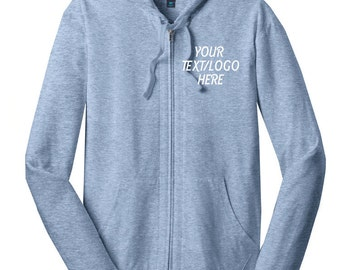 District® Young Mens Lightweight Jersey Full-Zip Hoodie DT1100 Custom District Hooded Sweatshirt Available All Colors & Sizes