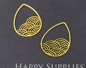 Exclusive - 6pcs Raw Brass Water Drop Charm / Pendant, Fit For Necklace, Earring, Brooch (RD052)