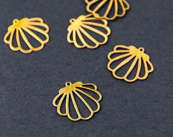 Exclusive - 10pcs Raw Brass Shell Charm / Pendant, Fit For Necklace, Earring, Brooch (RD031)