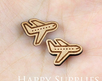 4pcs (SWC140) DIY Laser Cut Wooden Airplane Charms