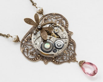 Steampunk Necklace Vintage French floral filigree silver pocket watch movement with Opal, Pearl, pink Quartz & gold dragonfly on rope chain