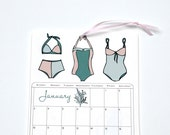 2016 Wall Calendar, 5.5x8.5 inches featuring 12 different ocean themed illustrations in red, taupe, mint green and pink