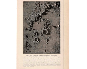 1894 MOON CRATER LUNAR surface original antique astronomy celestial print no. 3