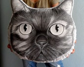 Cat Pillow, Dog Pillow , Custom Pet Portrait  Pillow Plush- XL size Monochrome ,  gift for pet lovers, cat portrait, dog portrait