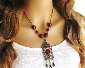 Victorian Necklace, Renaissance Necklace, Beaded Necklace, Red Necklace, Medieval Renaissance Steampunk Necklace, Bohemian Necklace, N741