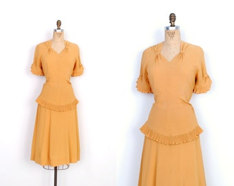 Vintage 1940s Dress / 40s Rayon Crepe Peplum Dress / Mustard Yellow (large L)