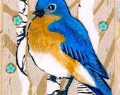 Bluebird Original Mixed Media ACEO Art Trading Card