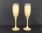 Gold Glittered Champagne Flute with Waterproof Finish, Wedding Toasting Glass, Made to Order, Select Quantity, Price is For One Glass