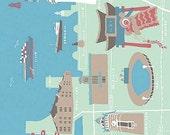 Japanese Tenugui Towel Cotton Fabric, Yokohama Map, Bayside, Sightseeing, Green Fabric, Modern Wall Art Hanging, Wrapping, Headband, h064