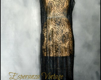 Antique Black Lace 1920s Flapper Dress • Classic ~ Beautiful ~ Romantic Boho ~ Historic ~ Rare ~ Very Wearable