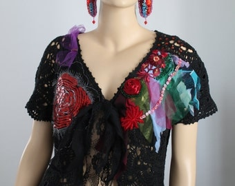 Black Boho Chic Gypsy  Lace Hand Crochet Embroidered Beaded Tattered  Sweater Jacket Cardigan Shrug Textile Collage  - OOAK - Size L - XL