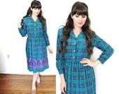 Vintage Plaid Dress / 1980s Teal Blue Plaid Paisley Dress