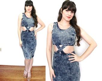 1980s Denim Dress / 80s Acid Wash Cut Out Wiggle Dress