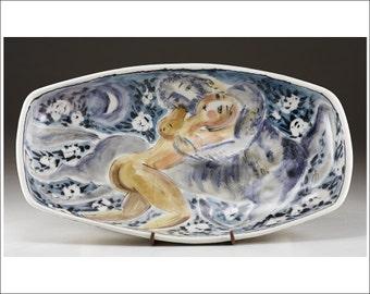 Centaur and Woman - Serving Dish - Majolica Ceramic Dish Handmade and Hand Painted by Boris Vitlin