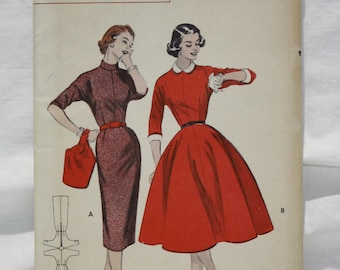 50's Vintage Uncut  Butterick Sewing Pattern 7066 One Piece Dress Slim or Full Skirt  size 12 Bust 30, Waist 25