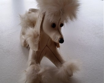 Vintage 1950s Retro White Fur and Leather Poodle