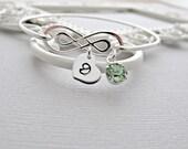 Bangle Bracelet, Silver Bracelet, Personalized Bracelet, Heart Bracelet, Peridot Bracelet, Birthstone Bracelet, Personalized Jewelry