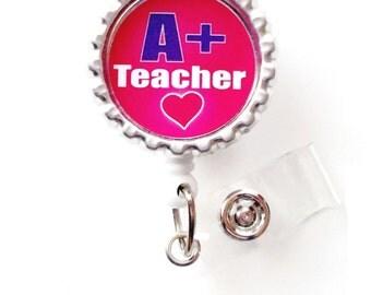 A+ Teacher - School Badge Reels - Teacher Badge Holder - Teacher Appreciation Gift - Preschool Teacher Badge - Teacher Assistant ID