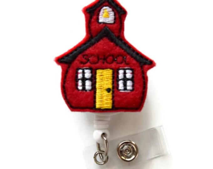 School House - Felt Badge - Retractable Badge Reel - Name Badge Holder - Cute Badge Reel - Teachers Badge Holder - School Badge