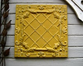 "FRAMED 24""x24"" Antique Ceiling Tin Tile. Circa 1910.   Ready to Hang.  Architectural salvage from Oklahoma"