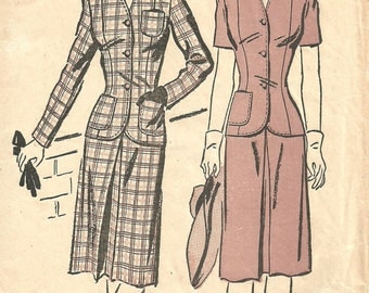 Advance 3052 / Vintage 40s Sewing Pattern / Skirt Jacket Suit / Size 16 Bust 34