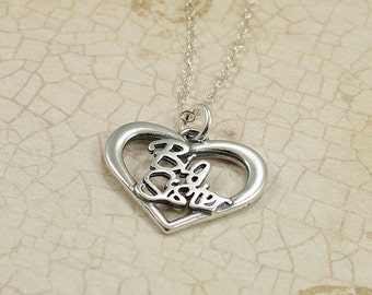 Big Sister Heart Necklace, Sterling Silver Big Sister Heart Charm on a Silver Cable Chain